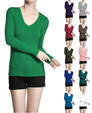 Basic V NECK Long Sleeve Fitted Solid Top Plain T-Shirt Junior Women