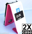 2 x Pink Samsung Galaxy S2 i9100 Wallet Flip Leather Credit Card Case Cover
