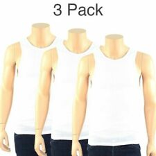 3 Mens White Tank Top 100% Cotton A-Shirt Wife Beater Ribbed Lot Pack Undershirt