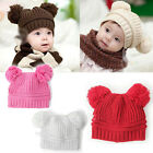 1PC Baby Toddler Kids Winter Warm Double Ball Hat Beanie Cap Crochet Colorful