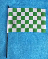 """Green and White Check Chequered hand Flag Celtic Bhoys Celts Hibs Plymouth 9""""x6"""""""