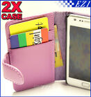 2 x Purple Samsung Galaxy S2 i9100 Wallet Credit Card Flip Leather Pouch Case