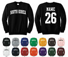 Country of South Korea Adult Crewneck Sweatshirt Personalized Name & Number