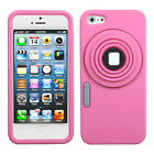 FOR APPLE IPHONE 5 & 5S PINK Camera Kickstand Silicone SKIN COVER CASE