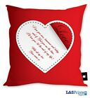 PERSONALISED VALENTINES DAY GIFT RED LOVE HEART DESIGN CUSHION KEEPSAKE