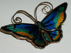 VINTAGE NORWEGIAN DAVID ANDERSEN GUILLOCHE ENAMEL SILVER BUTTERFLY BROOCH PIN