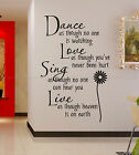 Dance love sing live Wall Quotes decal Removable stickers decor Vinyl art-small