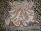 BABY GIRLS SIZE 12 MONTHS PINK SILKY DRESS BY EXPRESSIONS ATTACHED ROSES COLLAR