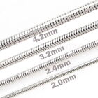 """2.0mm 2.4mm 3.2mm 4.2mm TopQuality Stainless Steel Snake Chain Necklace 18""""~30"""""""