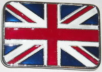 BUCKLE BELT UNION JACK RED GLOSS SILVER BRITISH UK FLAG