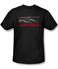 Airwolf TV Series Air Wolf Helicopter on Grid Licensed Tee Shirt Adult S-3XL