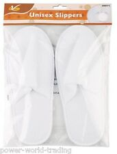 UNISEX SLIPPERS WHITE TOWELING GUEST SPA TRAVEL FLIGHT BEDROOM SOFT MEN LADIES