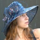 NEW Women's Kentucky Derby Hat Sequin Organza Multiple Colors Garden Party Wide