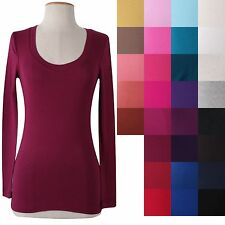 Basic SOLID PLAIN Long Sleeve Deep Scoop Neck Stretch Fit Tee Shirt Top Cotton