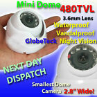 MINI DOME METAL OUTDOOR WATERPROOF CCTV INFRARED DAY NIGHT CAMERA SONY 480TVL!