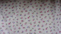 White Floral (small pink/blue flowers) Cotton Fabric  - PER METRE