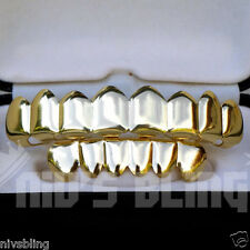 14K Gold CUSTOM 8 Tooth Top Bottom GRILLZ SET Mouth Teeth Caps Hip Hop Grill