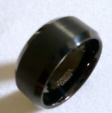 10MM TUNGSTEN CARBIDE BLACK WITH BRUSHED INMIDDLE MAN'S WEDDING BAND RING SZ6-15