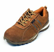 Leather steel toe safety tennis shoes tan/honey suede, Bartium, W 7 1/2 - 12 1/2
