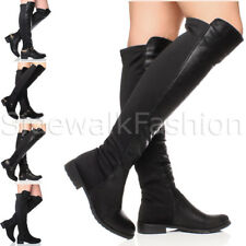 WOMENS LADIES OVER THE KNEE ELASTIC STRETCH PULL ON LOW HEEL FLAT BOOTS SIZE