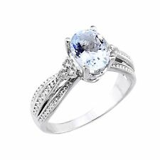 10k White Gold Aquamarine March Birthstone and 6 Round Diamonds Proposal Ring