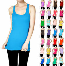 Plus Size Basic Tank Top Long Layer Rib Solid Sleeveless Racerback - S - 3XL