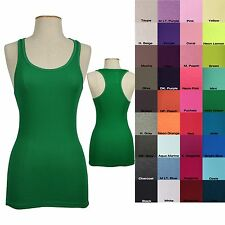 Basic Scoop Neck Plain Ribbed Racerback Cami Stretch Long Tee Tank Top Cotton