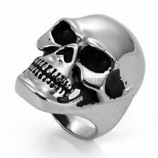 Heavy Gothic Skull Biker Stainless Steel Men's Ring High Polished Silver Tone