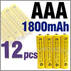 12 x AAA 1800mAh 1.2V Ni-MH rechargeable battery Yellow