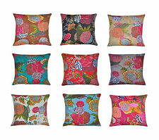 16''INDIAN CUSHION COVER PILLOW CASE KANTHA WORK FLORAL ETHNIC DECOR ART 156951