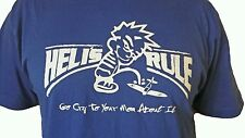 Heli's Rule, RC helicopter t-shirt with Calvin pissing on an airplane