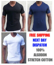 New Mens Slim Fit V-neck stretchy T-shirt Short Sleeve Muscle Tee Size XS to XXL