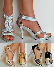NEW Ladies Party Sparkly Diamante Ankle Straps Low Mid Heel Shoes Sandals Size