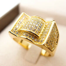 CZ Iced Out Bling Ring Hip Hop 18K Yellow Gold Filled Men's Ring R18 9#-12#