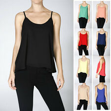 Basic Tank Top Spaghetti Strap Chiffon Blouse Sleeveless Swing Cami Vest Shirt