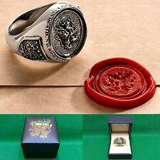 Dragon Age Inquisition Grey Warden Signet Ring Sterling Silver or Plated Brass