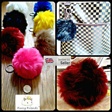 10cm NEW LARGE FAUX / FAKE Fur PomPom Ball Charm Handbag Phone Pendant Keyring!
