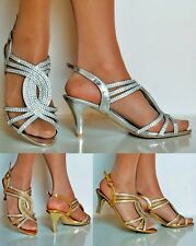 NEW Ladies Party Sparkly Diamante Ankle Strap Low Kitten Heel Sandals Plus Sizes