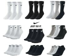 Nike 3 ppk Pair Mens Womens Unisex Cotton Crew Ankle Sports Socks Size UK 2-11