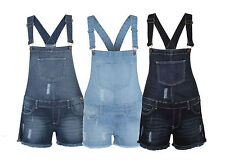 Womens Ladies Denim Dungarees Frayed Short Light Wash Jeans Hot Pant Play Suit
