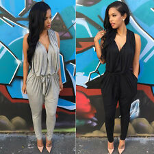 Sexy Damen Overall Hose Lang Playsuit Romper Jumpsuit Slim Spielanzug Overalls
