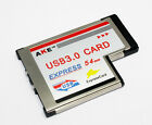 AKE Expresscard 54mm Express to USB 3.0 Adapter 2 Ports, For Laptop Notebook