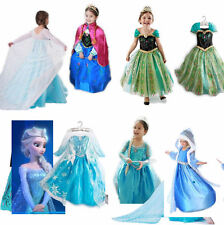 Halloween Kids Girls Costume Cosplay Party Princess Frozen Elsa Anna Dress