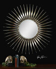 """LARGE 42"""" ROUND SUN BURST STYLE BEVELED SILVER WALL MIRROR ANTIQUED SILVER LEAF"""