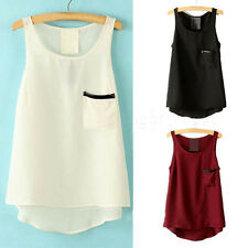 Women Ladies Summer Chic Loose Casual Chiffon Sleeveless Vest Shirt Tops Blouse