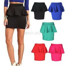 Women Girl High Waisted Peplum Frill Pencil Skirt Stretch Bodycon Mini Skirt B69