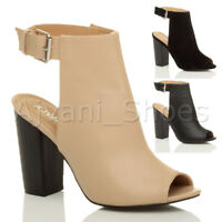 WOMENS LADIES BLOCK HIGH HEEL PEEP TOE ANKLE STRAP BUCKLE CUT OUT BOOTIES SIZE