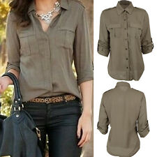 Fashion Women Button Down Shirt Casual Long Sleeve Slim T-shirt Tops Blouse NEW
