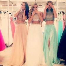 Two Piece Prom Dresses Beaded Bodice Sheer Tulle High Neck Evening Party Gowns