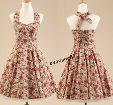 Women 50s 60s Retro Floral Rockabilly Pin up Housewife Swing Party Evening Dress